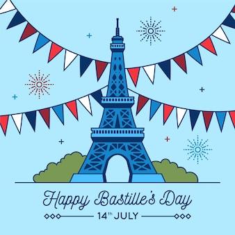 Feliz dia da bastilha com guirlandas e torre eiffel
