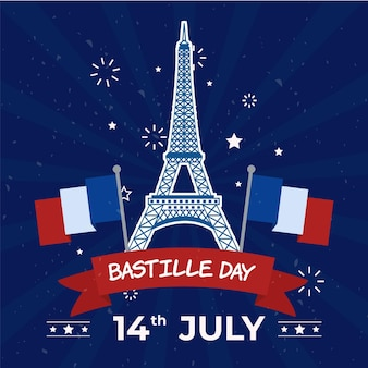 Feliz dia da bastilha torre eiffel e bandeiras