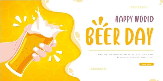 Feliz dia da cerveja conceito banner design