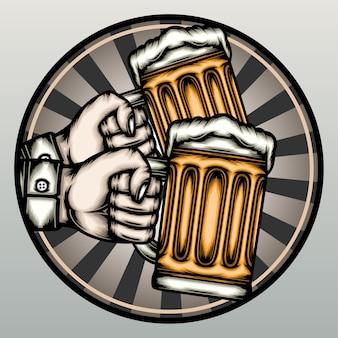 Feliz dia da cerveja desenhado à mão