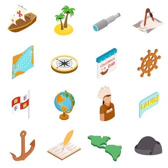 Feliz dia da colombo 3d isométrica conjunto de ícones