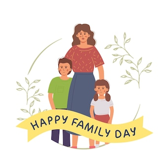 Feliz dia da família com uma linda mãe solteira com filhos