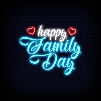 Feliz dia da família lettering texto efeito néon