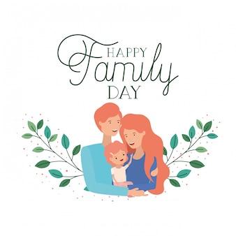 Feliz dia da família rótulo isolado ícone
