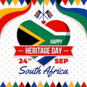 Feliz dia da herança com coração e bandeira