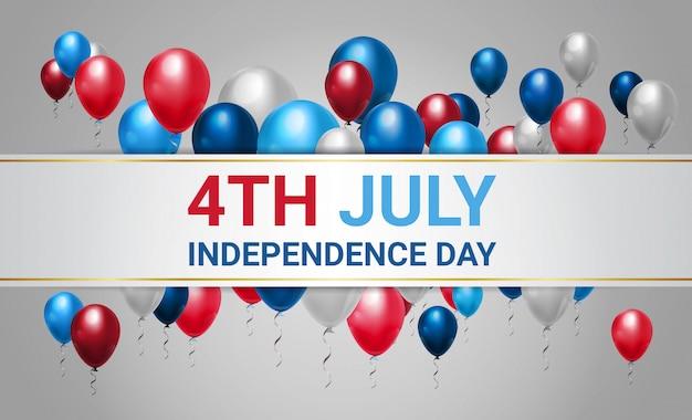 Feliz dia da independência 4 de julho balões coloridos
