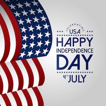 Feliz dia da independência, 4 de julho com a bandeira de ondulação dos eua