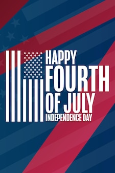 Feliz dia da independência. 4 de julho. conceito de férias. modelo de plano de fundo, banner, cartão, pôster com inscrição de texto. ilustração em vetor eps10.