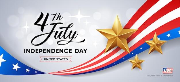 Feliz dia da independência, bandeira da américa e estrelas douradas.