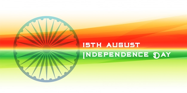 Feliz dia da independência bandeira indiana e banner de chakra ashoka
