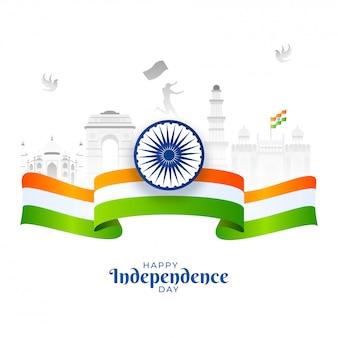 Feliz dia da independência cartaz com roda de ashoka, fita da bandeira da índia e monumentos famosos indianos em fundo branco.