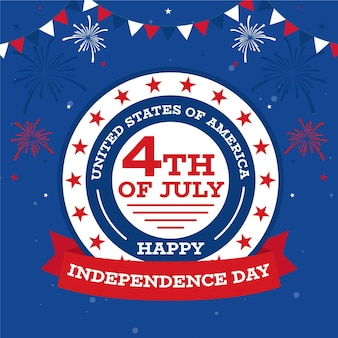 Feliz dia da independência com fogos de artifício e festão
