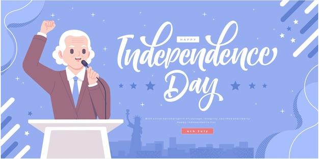 Feliz dia da independência conceito banner design