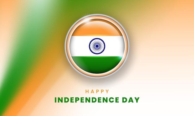 Feliz dia da independência da bandeira da índia com o círculo da bandeira indiana 3d