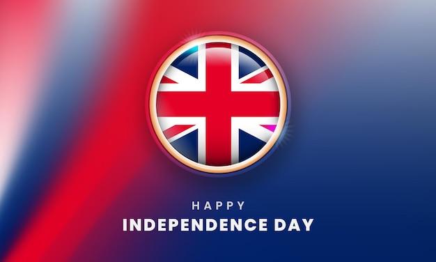 Feliz dia da independência da bandeira do reino unido com o círculo da bandeira britânica em 3d