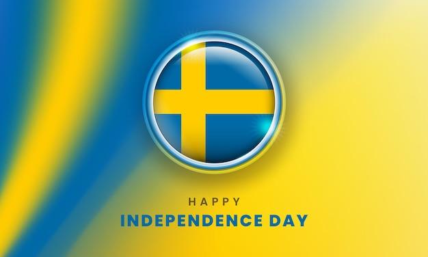 Feliz dia da independência da bandeira sueca com o círculo da bandeira sueca em 3d