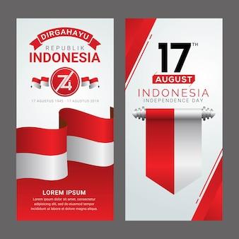Feliz dia da independência da indonésia cartão