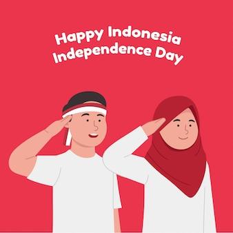 Feliz dia da independência da indonésia, duas crianças comemoram o dia nacional