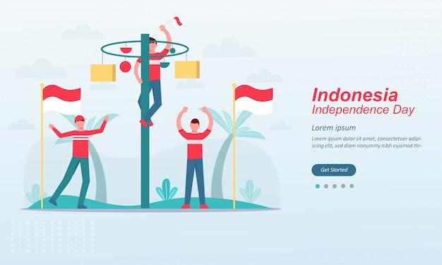 Feliz dia da independência da indonésia modelo de página de destino