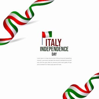 Feliz dia da independência da itália celebração vector template