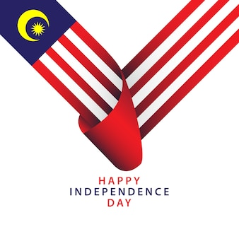 Feliz dia da independência da malásia vector template