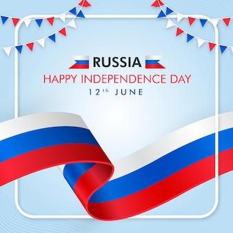 Feliz dia da independência da rússia com a bandeira russa e a catedral de saint basils