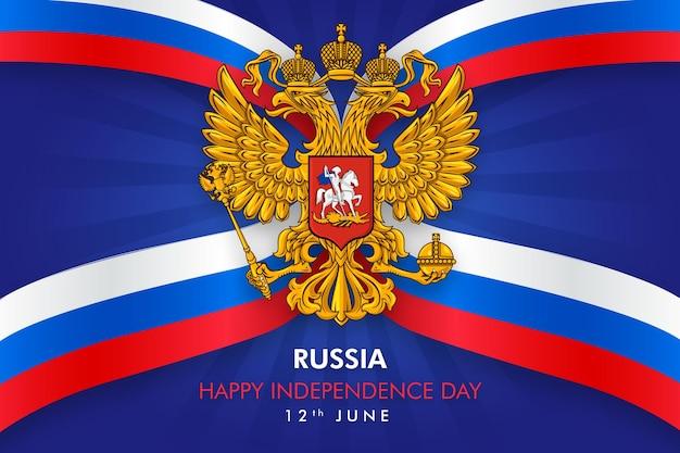 Feliz dia da independência da rússia com o emblema da federação russa Vetor Premium