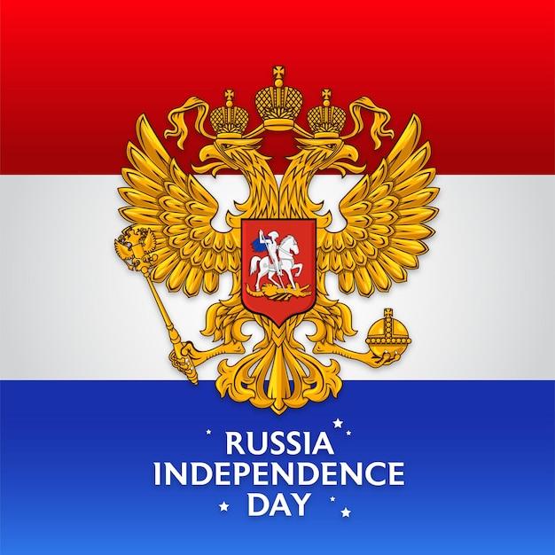 Feliz dia da independência da rússia com o emblema da federação russa