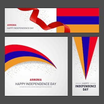 Feliz dia da independência de arménia banner e conjunto de fundo
