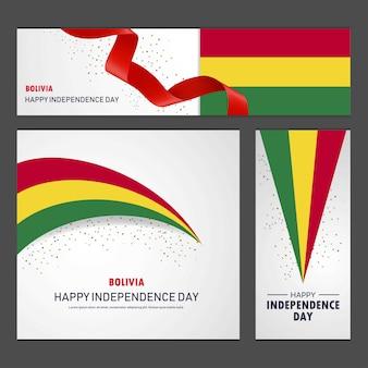 Feliz dia da independência de bolívia banner e conjunto de fundo Vetor Premium