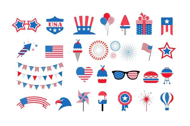 Feliz dia da independência dos estados unidos, julho, feriado americano, celebração, coleção de elementos e ícones