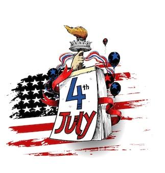 Feliz dia da independência dos eua, 4 de julho. cartão de felicitações e design de cartaz - ilustração em vetor desenho desenho à mão.