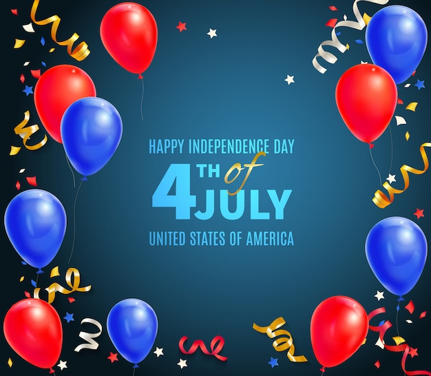Feliz dia da independência dos eua cartão com data de feriado 4 de julho e ilustração realista de símbolos festivos