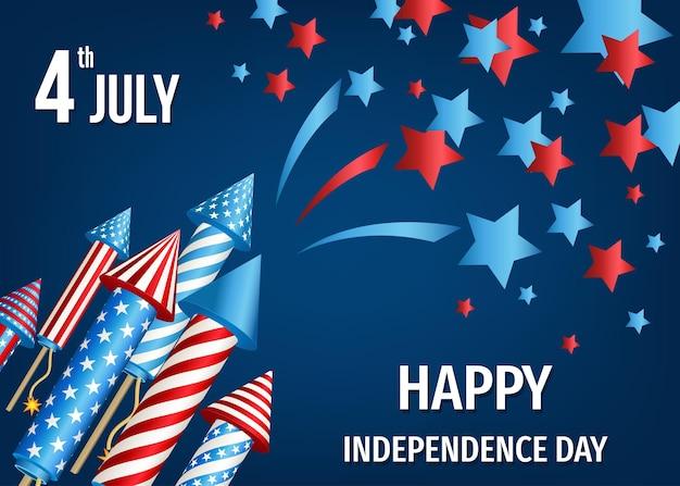 Feliz dia da independência dos eua, cartão de 4 de julho