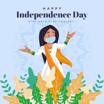Feliz dia da independência, fique seguro, fique saudável, modelo de design de banner