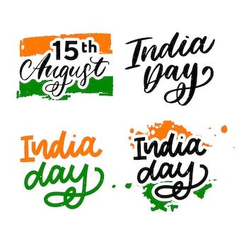 Feliz dia da independência índia conjunto de letras
