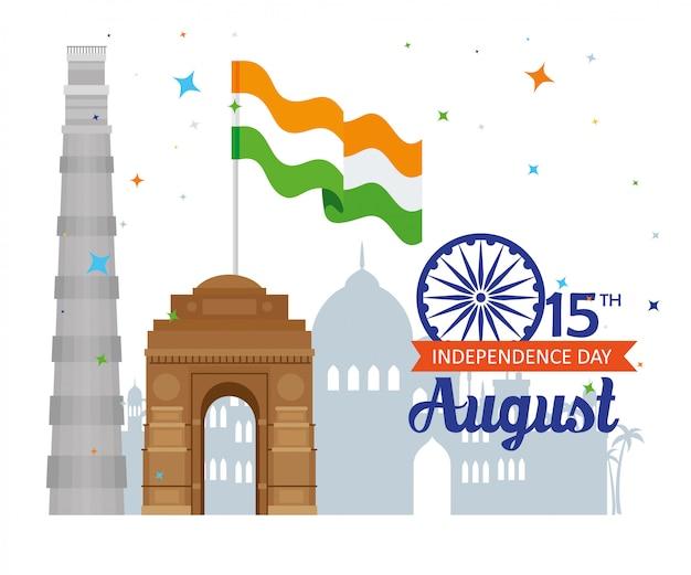 Feliz dia da independência indiana com decoração de roda de ashoka e monumentos famosos, celebração 15 de agosto