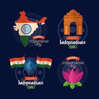 Feliz dia da independência na índia em estilo simples