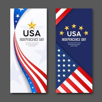 Feliz dia da independência vetor bandeira da américa banners verticais coleção plano de fundo