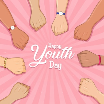 Feliz dia da juventude cartão de diversas cores mãos coloridas jovens projeto de conceito de grupo do dia da amizade mãos para a unidade e o sucesso do trabalho em equipe ajuda o conceito de negócio