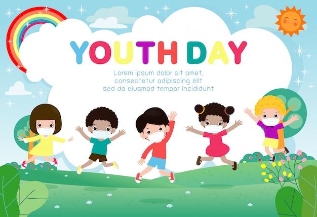 Feliz dia da juventude para o novo conceito de estilo de vida normal modelo de folheto de propaganda ou panfleto de pôster, adolescente bonito do grupo usando uma máscara cirúrgica protetora médica para prevenir o coronavírus ou o covid-19