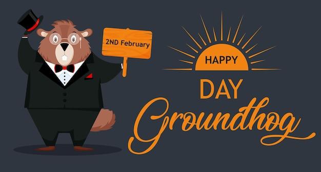 Feliz dia da marmota. banner com a imagem de uma divertida elegante marmota de terno. ilustração em vetor isolada em um fundo escuro.
