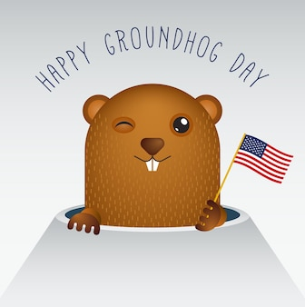 Feliz dia da marmota com marmota