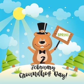 Feliz dia da marmota design com giro da marmota