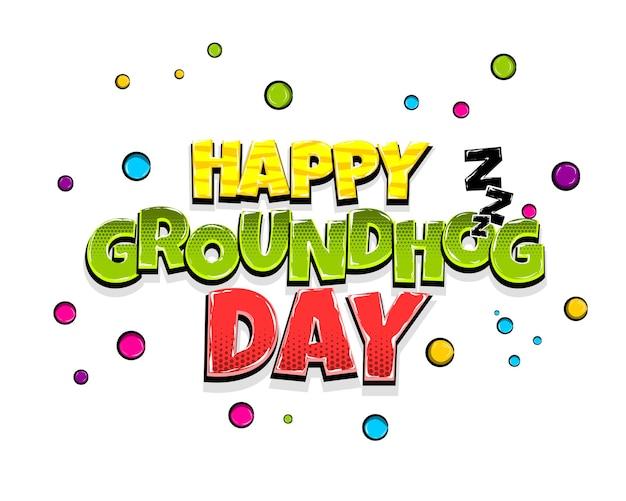 Feliz dia da marmota, feriado, quadrinhos, texto, arte, pop, anuncie