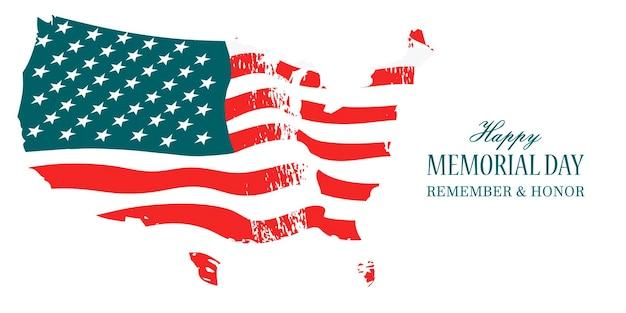 Feliz dia da memória. a bandeira americana balançando ao vento. lembre-se e honre.