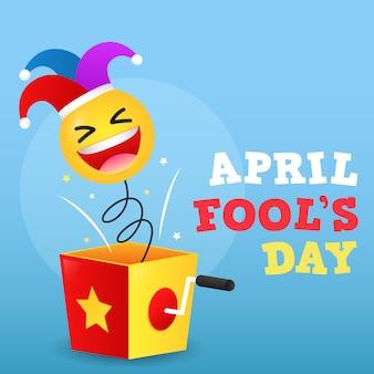 Feliz dia da mentira ilustração de dia com caixa surpresa e emoticon e chapéu