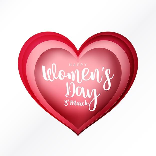 Feliz dia da mulher, 8 de março, caligrafia de texto no estilo de corte de papel em formato de coração