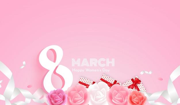 Feliz dia da mulher 8 de março em fundo rosa e lindas rosas, caixas de presente e fita branca.