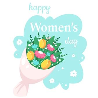 Feliz dia da mulher. buquê de flores da primavera